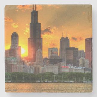 Vista del horizonte de Chicago de Adler Posavasos De Piedra