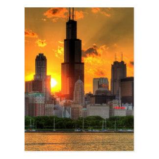 Vista del horizonte de Chicago de Adler Postales