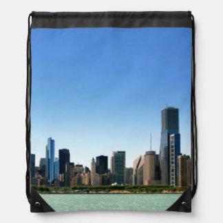 Vista del horizonte de Chicago por el lago Michiga Mochila