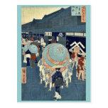 Vista del itchome de los toros de Nihonbashi por A Tarjetas Postales