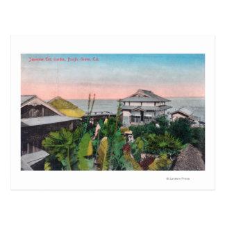 Vista del jardín de té japonés tarjeta postal