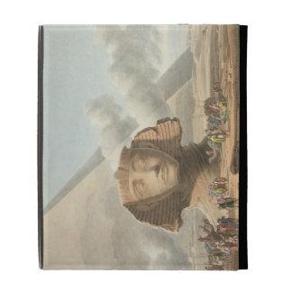 Vista del jefe de la esfinge y de la pirámide de