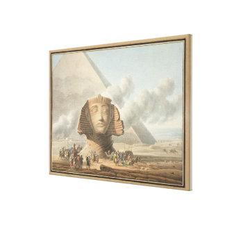 Vista del jefe de la esfinge y de la pirámide de impresiones de lienzo