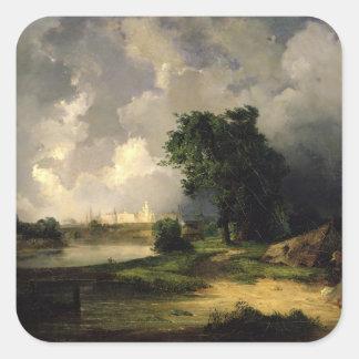 Vista del Kremlin en el mún tiempo, 1851 Calcomanía Cuadradase