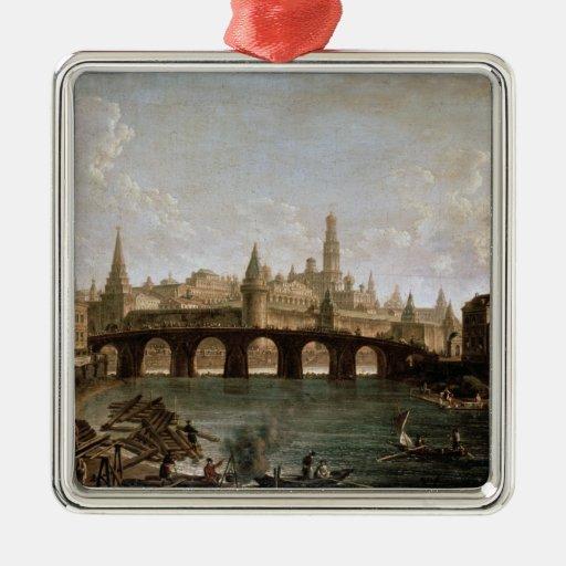 Vista del Kremlin y del puente de Kamenny Adorno Cuadrado Plateado