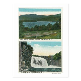 Vista del lago de Mt Whitney, caídas del arco iris Tarjeta Postal