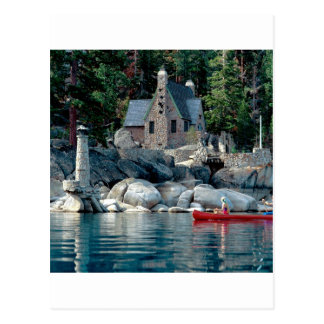 Vista del lago que ve en canoa Tahoe Tarjetas Postales