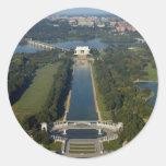 Vista del Lincoln memorial Pegatina Redonda