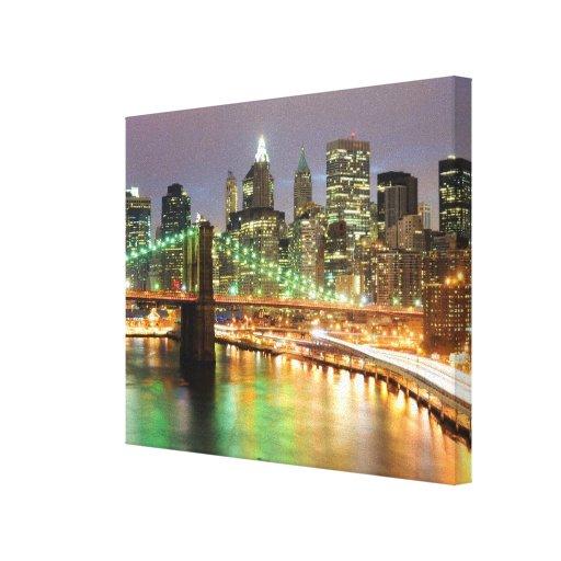 Vista del Lower Manhattan y del puente de Brooklyn Impresión En Lienzo