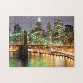 Vista del Lower Manhattan y del puente de Brooklyn Puzzles Con Fotos