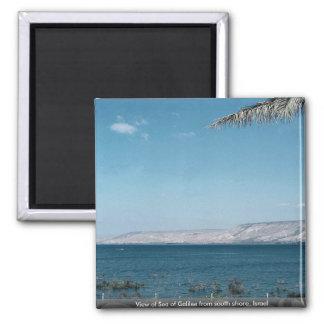 Vista del mar de Galilea de la orilla del sur, Imán Cuadrado