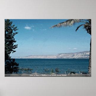 Vista del mar de Galilea de la orilla del sur, Isr Póster
