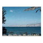 Vista del mar de Galilea de la orilla del sur, Isr Tarjetas Postales