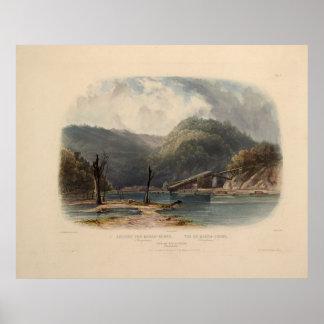 Vista del Mauch-Pedazo Pennsylvania de Karl Bodmer Póster