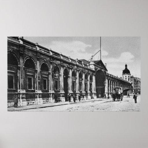 Vista del mercado de carne de Smithfield, c.1905 Posters