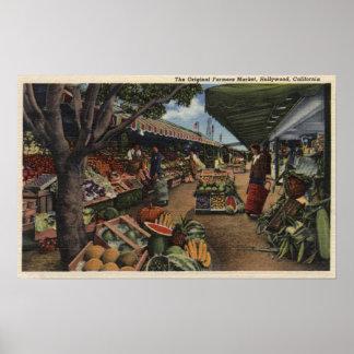 Vista del mercado del granjero original póster