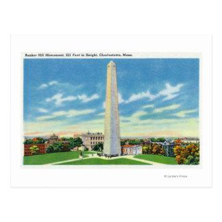 Vista del monumento del Bunker Hill Tarjeta Postal