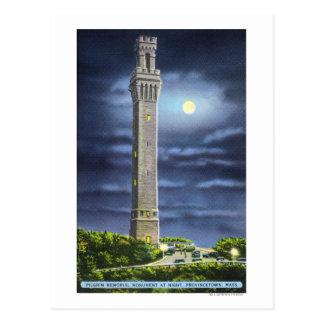 Vista del monumento del peregrino en la noche postales