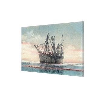Vista del naufragio de Peter Iredale Lienzo Envuelto Para Galerias