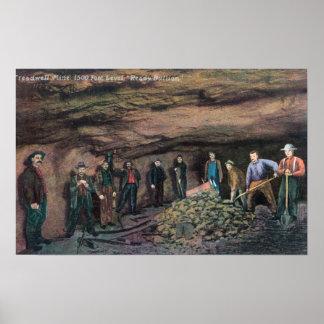 Vista del oro MinersJuneau, AK de la mina de Tread Poster