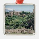 Vista del palacio de Alhambra Adorno Navideño Cuadrado De Metal