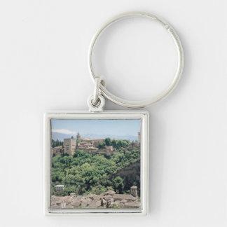 Vista del palacio de Alhambra Llavero Cuadrado Plateado