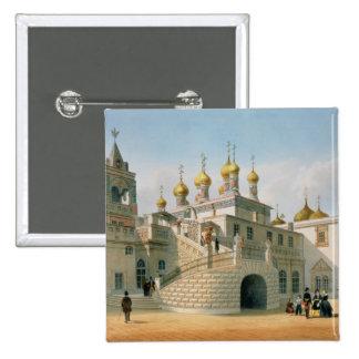 Vista del palacio del boyardo en la Moscú el Kreml Pin Cuadrada 5 Cm