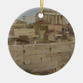 Vista del Parthenon del Propylaea, placa 7 Adorno Navideño Redondo De Cerámica