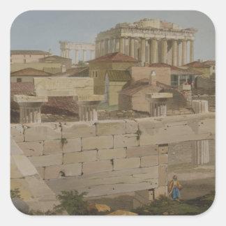 Vista del Parthenon del Propylaea, placa 7 Pegatina Cuadrada