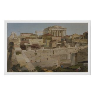 Vista del Parthenon del Propylaea, placa 7 Póster