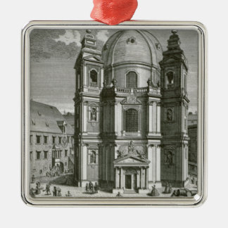 Vista del Peterskirche Adorno Cuadrado Plateado