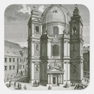 Vista del Peterskirche Pegatina Cuadrada