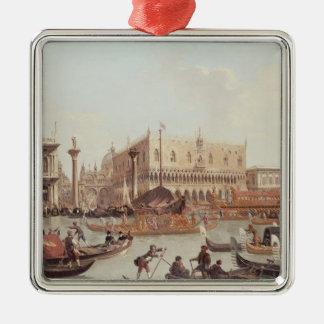 Vista del Piazzetta del dux del palacio y Adorno Cuadrado Plateado