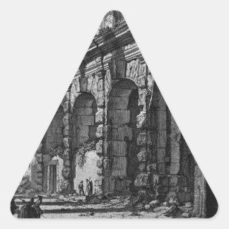 Vista del piso superior de la casa de fieras pegatina triangular