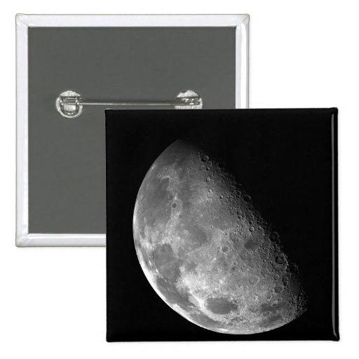 Vista del Polo Norte de la luna Pin Cuadrado