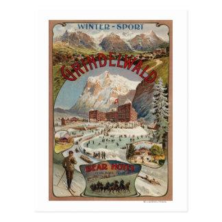 Vista del poster promocional del hotel del oso tarjetas postales