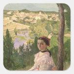 Vista del pueblo, Castelnau, 1868 Calcomania Cuadradas Personalizada