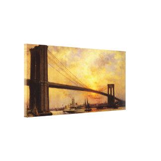 Vista del puente de Brooklyn de Emilio Renouf Impresión En Tela