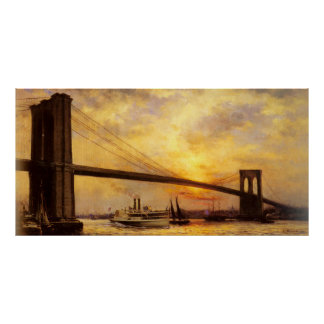 Vista del puente de Brooklyn de Emilio Renouf Póster