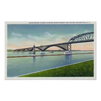 Vista del puente de la paz sobre el río Niágara Poster