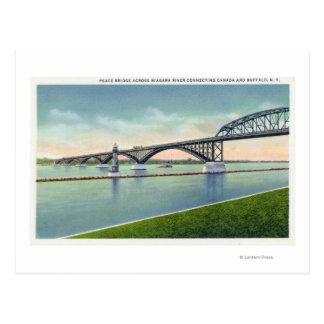 Vista del puente de la paz sobre el río Niágara Tarjetas Postales