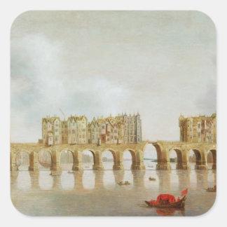 Vista del puente de Londres, c.1632 (aceite en el Pegatina Cuadrada