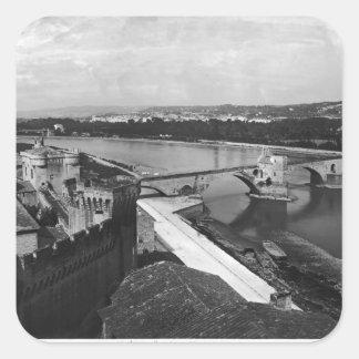 Vista del puente del St. Benezet Pegatina Cuadrada