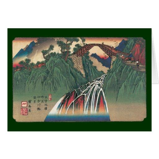 Vista del puente sobre el río de Ina, Nojiri por Tarjeta De Felicitación