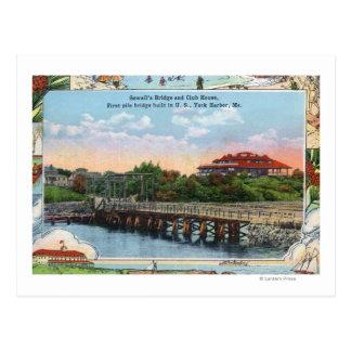 Vista del puente y del club de Sewall Tarjeta Postal