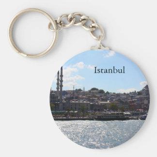 Vista del puerto de Estambul Llavero Redondo Tipo Pin