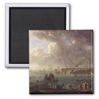Vista del puerto de Lorient Imán Cuadrado