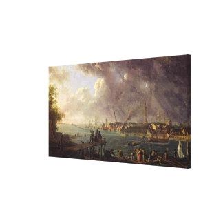 Vista del puerto de Lorient Impresión En Lienzo Estirada