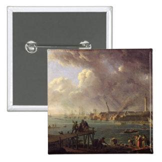 Vista del puerto de Lorient Pin Cuadrado