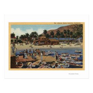 Vista del puerto del istmo con los nadadores tarjetas postales